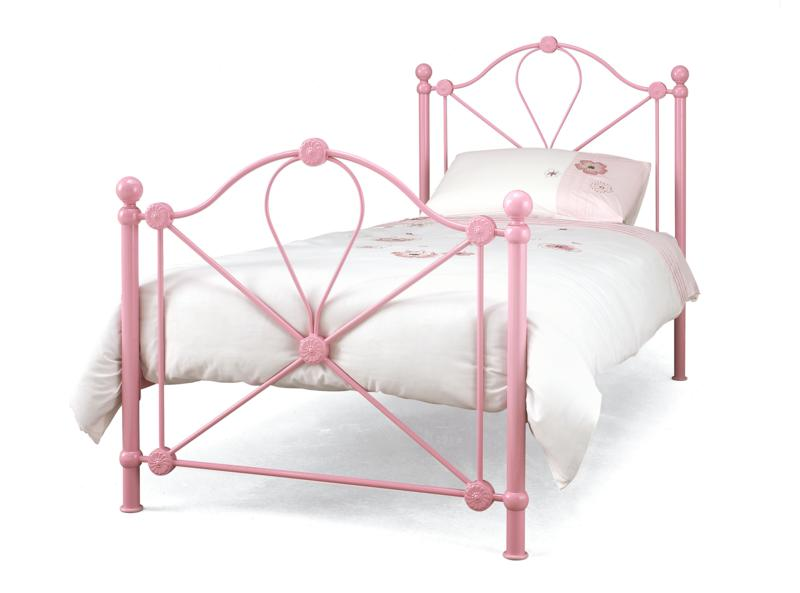 Serene Lyon Pink 3ft Single Metal Bed Frame from £99